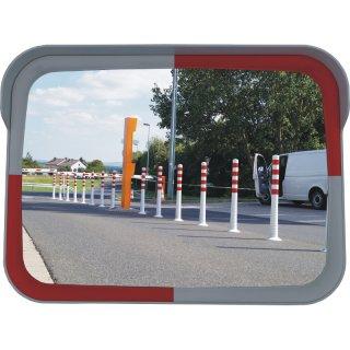 Eckiger-Spiegel SP86WR, L 800 x B 600 mm, Farbe weiß/rot