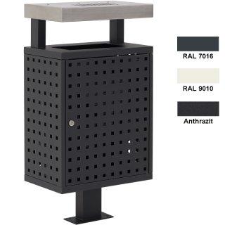 """Design-Linie Abfallbehälter """"A1000"""", 50l, rechteckig, zum Aufdübeln, mit Ascher 1 l, Mantel gelocht"""