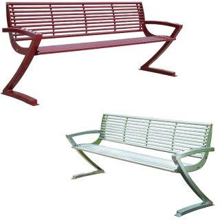Bankserie 604 - 4sitzer mit Armlehnen in Edelstal oder in Stahl und zusätzlich beschichtet