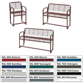 """Seniorenbank-Serie """"S-14"""" als 1 (Stuhl), 2 oder 3sitzer mit Tisch in verzinkt und pulverbechichtet"""