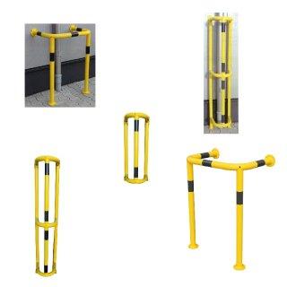 """Rammschutzkäfige """"RS ..."""" z.B. für Fallrohre, hablrund oder gestreckt, 1000 oder 1500 mm hoch, feuerverzinkt + gelb beschichtet + Streifen"""