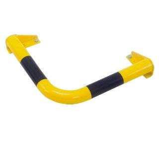 """Ramm-/Anfahrschutzeckbalken """"RSE .."""" Ø 60 /  Ø 76 mm x Schenkellänge 600 mm, zum Aufdübeln, feuerverzinkt + gelb beschichtet + Streifen"""