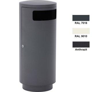Design-Linie Abfallbehälter - A1010.. - 95 l, rund, Aufstellen/Aufdübeln, Edelstahl + Farbe