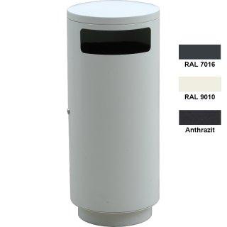 Design-Linie Abfallbehälter - A1010-9010 - ca. 95 l, rund, Aufstellen/Aufdübeln, Edelstahl + pulverbeschichtet in RAL 9010 - reinweiß