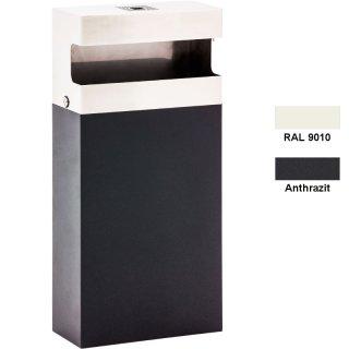 """Design-Linie Abfallbehälter mit Ascher """"A1030-.."""",  40 l / 1 l, Wandmontage, Haube/Ascher in Edelstahl - Behälter feuerverzinkt + pulverbeschichtet anthrazitschwarz oder RAL 9010 - reinweiß"""
