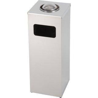 Design-Linie Abfallbehälter mit Ascher - A1050-VA - 50 l / 1 l, rechteckig, Einwurf Frontseite, Edelstahl geschliffen