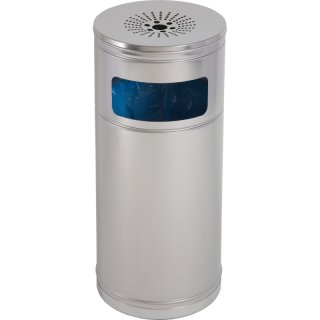 Design-Linie Abfallbehälter mit Ascher - A1060 - 55 l / 1 l, rund, Aufdübeln/Aufstellen, Edelstahl