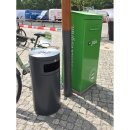 """Design-Linie Abfallbehälter """"A1080-.."""" rund, 50, 75 oder 80 l, ohne oder mit Ascher, Edelstahl + Farbe, zum Aufstellen/Aufdübeln"""