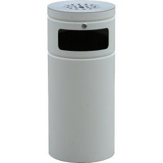 Design-Linie Abfallbehälter - A1080-50RA-9010 - 50 l, rund, Ascher, Aufstellen/Aufdübeln, 1 Einwurf,  VA + pulverbeschichtet RAL 9010  reinweiß