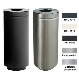 Design-Linie Abfallbehälter - A1090 - rund, 75 l, Aufdübeln/Aufstellen, Edelstahl oder Edelstahl pulverbeschichtet