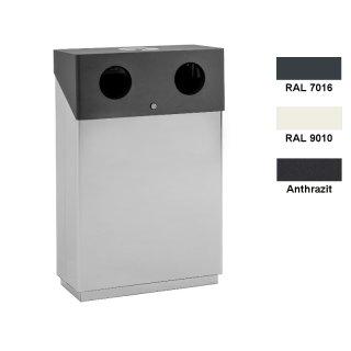 Design-Linie Wertstoffbehälter WSB1000-..., zum Aufstellen, mit Ascher, mit 2, 3 oder 4 Fraktionen a 70 l