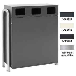 Design-Linie Wertstoffbehälter WSB1010..., zum Aufstellen, mit drei Fraktionen (3 x 90 l), ohne oder mit Ascher