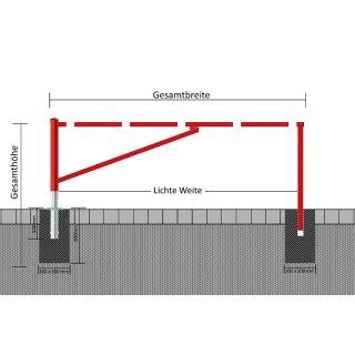 """Wegesperren - """"WGF.."""" - schwenkbar, mit zusätzlichem Auflagepfosten, Sperrbreite 2500 bis 4500 mm"""