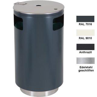 Design-Linie Wertstoffbehälter WSB1020-..., rund, zum Aufstellen, mit drei Fraktionen (3 x ca. 38 l), ohne oder mit Ascher