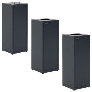 """Design-Linie Abfallbehälter """"A2000-ED65.."""" rechteckig, 65l, Deckel mit und ohen Einwurf, Tür, Stahl + pulverbeschichtet"""