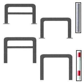Absperrbügel - universal einsetzbar im Ø von 48,  60 und 76 mm, zum Aufdübeln oder Einbetonieren, mit oder ohne Querholm