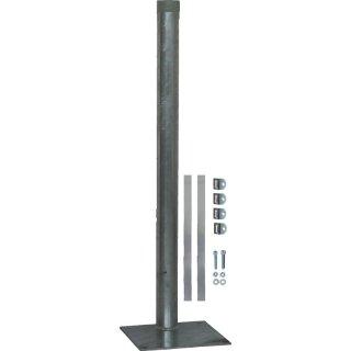 Rohrpfosten Ø 60  x 900 mm mit Bodenplatte zum Aufdübeln, feuerverzinkt mit Schellenbandsatz