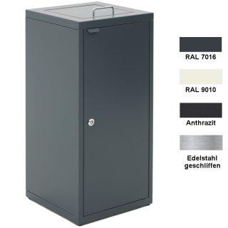 """Design-Linie Abfallbehälter """"A2010-ED100.."""" rechteckig, 100l, Deckel mit Griffbügel, Tür, VA oder Stahl + Farbe"""