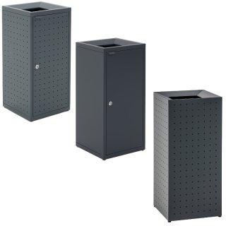 """Design-Linie Abfallbehälter """"A2020-ED100V.."""" rechteckig, 100l, Deckel mit großem Einwurf, mit ohne Tür, gelocht ungelocht, Stahl + Farbe"""