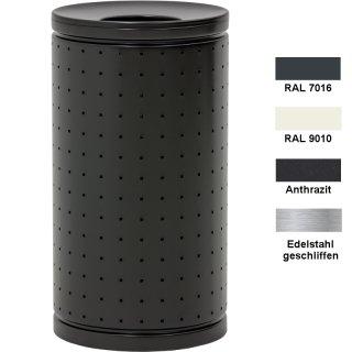 """Design-Linie Abfallbehälter """"A2040-RD.."""", rund, 60l oder 95l, Deckel, Edelstahl oder Stahl + Farbe"""