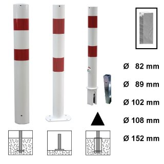 """Absperrpfosten """"AP .. EAH"""" mit Ø von 82 / 89 / 102 / 108 / 152 mm, zum Einbetonieren, Aufdübeln und herausnehmbar mit Bodenhülse, feuerverzinkt oder zusätzlich weiß + 2 Folienstreifen"""