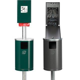 """Hundeklostation - Dog Station - """"HDS1-.."""" - Beutelspender mit Abfallbehälter 30 l und Rohrpfosten zum Einbetonieren in RAL 6005 = mossgrün oder eisenglimmer ähnl.DB703"""