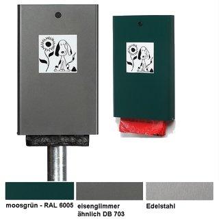 """Hundeklo - Beutelspender """"HBS2-.."""" in Edelstahl, verz. und grün oder eisenglimmer, mit oder ohne Pfosten zum Einbetonieren"""