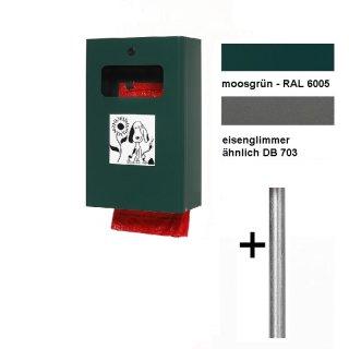 """Hundeklo - Dog Station - """"HDS6-..."""" - Beutelspender / Abfallbehälter 7 l Inhalt für Wand-/Pfostenmontage oder mit Pfosten zum Einbetonieren , in RAL 6005 = moosgrün oder in Eisenglimmer"""