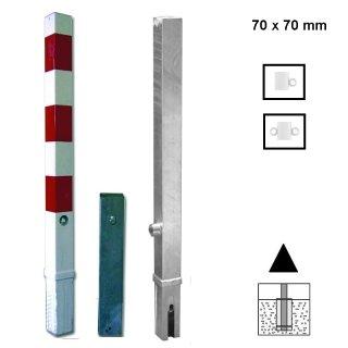"""Absperrpfosten """"AP 7..H.."""" aus Quadratrohr 70 x 70 mm, herausnehmbar zum Einbetonieren mit Dreikantschloß in 900 oder 1000 mm über Flur, feuerverzinkt oder zusätzlich weiß beschichtet + 3 Streifen"""