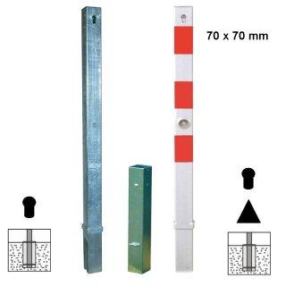 """Absperrpfosten """"AP 7 H ZD"""" aus Quadratrohr 70 x 70 mm, herausnehmbar, Zylinder- oder Zylinder+Dreikantschließung, feuerverzinkt oder zusätzlich weiß beschichtet mit Folienstreifen"""