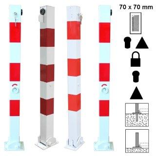 """Absperrpfosten """"AP 7  K.."""" aus Quadratrohr 70 x 70 mm, klappbar zum Aufdübeln oder Einbetonieren, Zylinderschloss / Zylinder-+Dreikantschloss / Dreikantschloss / Vorhängeschloss, feuerverzinkt oder zusätzlich weiß beschichtet + Folienstreifen"""
