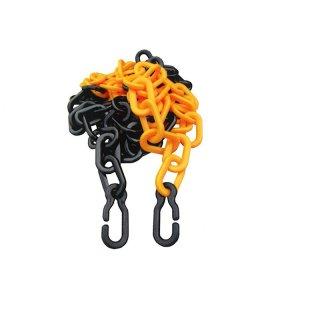 Kunststoffkette - Kette73GSUH - 7 mm Glieder, aus PP, in gelb/schwarz inkl. 2 Universalhaken - Länge 3 m