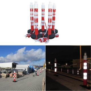 """Absperrpfosten-Ketten-Sets - KP110 - mit 5 oder 6 Pfosten """"AP110"""" - (Ø 110 x H 1200 mm) und 25 m Kette in rot / weiß"""