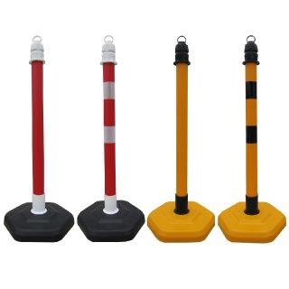 """Absperrpfosten """"AP63.."""" aus PP, Ø 63 x H 1000 mm, mit Standfuß,  in roter und gelber Frabe mit oder ohne Folienstreifen"""