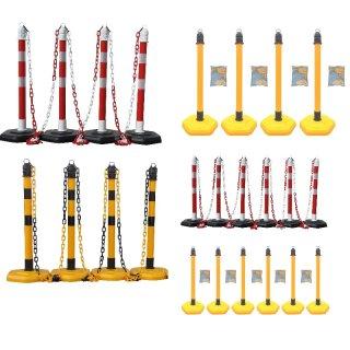 """Absperrpfosten-Ketten-Set - KP44 / 65 - mit 4 oder 6 Pfosten """"AP 63.."""" in rot oder gelb sowie Ketten + Universaleinhängehaken"""