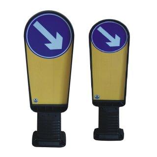 """Fahrtrichtungsbake """"FRB.."""" aus Kunststoff (PUR), links- oder rechtsweisend, große oder kleine Ausführung, zum Aufdübeln"""
