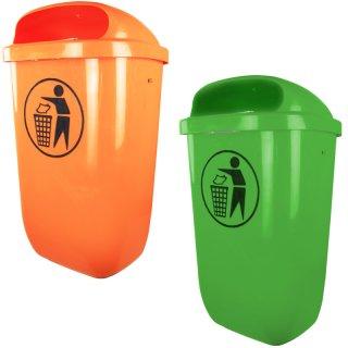 Kunststoffabfallbehälter - A3000-.. - nach DIN 30713, 50 l Inhalt, grün oder orange, Wand + Pfostenmontage, zum Aufdübeln / Einbetonieren