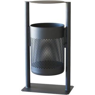 Abfallbehälter - STATION RS FD.. - Voll- oder Lochblechbehälter, flacher Deckel,  Aufdübeln + Einbetonieren, feuerverzinkt + DB 703 Feinstruktur matt