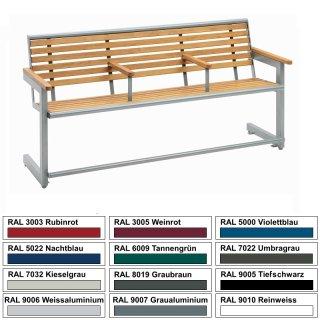 Seniorenbank - S12-3 - 3sitzer Rahmen aus Stahl beschichtet mit Robinienholzbelattung