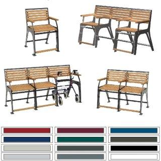 Seniorenbank - S10- vom Stuhl bis zum 4-sitzer mit oder ohne Rollatoreinschub, Belattung Robinienholz, Stahlteile verzinkt und beschichtet