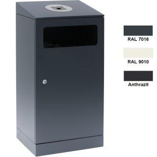 Design-Linie Abfallbehälter mit Ascher - A1110 - 110 l / 3 l, eckig Aufdübeln/Aufstellen