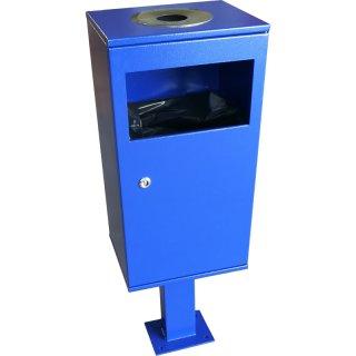 Design-Linie Abfallbehälter mit Ascher - A1120 - 40 l / 2 l, Aufdübeln, verzinkt und pulverbeschichtet in RAL 5002