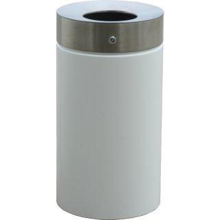 Design-Linie Abfallbehälter - A1070-9010 - 75 l, rund, Aufstellen/Aufdübeln, Edelstahl + pulverbeschichtet RAL 9010 - reinweiß, Deckel nur Edelstahl