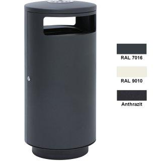 Design-Linie Abfallbehälter - A1011.. - ca.120 l, rund, Aufstellen/Aufdübeln, Edelstahl + Farbe