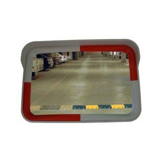 Eckiger-Spiegel SP64WR, L 600 x B 400 mm, Farbe weiß/rot