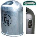 A3001- Abfallbehälter Stahl feuerverzinkt zur...