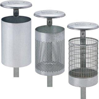 Abfallbehälter ALPHA - Kombination AB 33 Varianten mit Zubehör zur Befestigung und Wetterschutzhaube