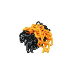 Kunststoffkette - Kette725GS - 7 mm Glieder, aus PP in gelb-schwarz - Länge 25 m
