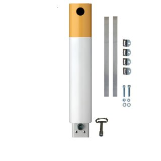 """Ascher Die """"Zigarette"""", weiß/gelb für Pfostenmontage mit Schellenbandsatz für runden Pfosten"""